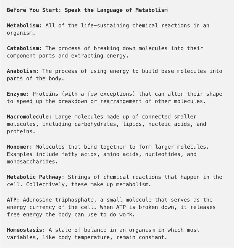 language of metabolism